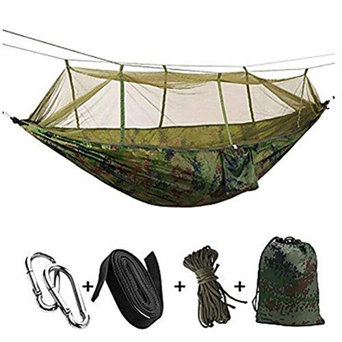 Bin Bin Camping Hangmat Buiten Ultra Licht, Inklapbaar Nylon Voor Camping/Camping/Wandelen/Buiten - Leger Groen