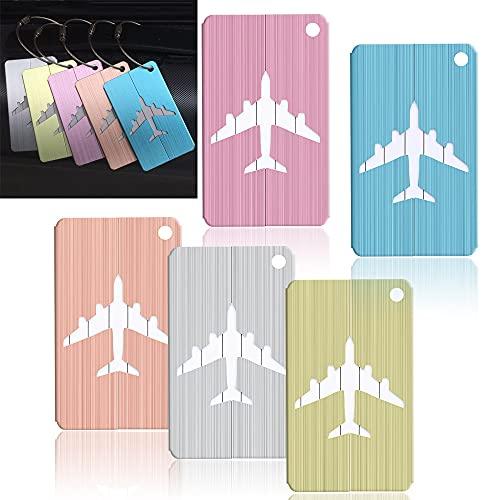 SonneSky 5 Pezzi Etichette per Bagaglio Etichette Valigia in Alluminio Etichette per Bagaglio Targhette Valigia Aereo ID Tag
