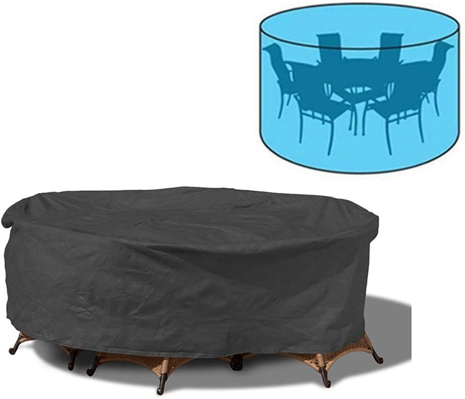 Large Round Patio Table & Chair Set Cover, Heavy Duty Durable Waterproof, Black (Size   230  110CM)