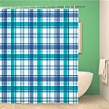 Meishikaeu Bathroom Shower Curtain Blue Bedclothes Plaid Green Breakfast Buffalo Check Checker Checkered Polyester Fabric 66x72 Inches Waterproof Bath Curtain Set with Hooks 65X72 Inch