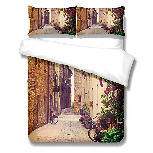 iCoCofly Quilted 3 Pieces Bedding Set- Hotel 3-Piece Bed Set, Extra Deep Pocket,Bedding Set, Wrinkle & Fade Resistant, Hypoallergenic quilt cover & Pillow Case Set - Hutong scenery