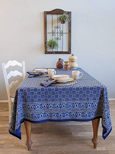 Saffron Marigold Starry Nights ~ Batik Blue Designer Block Print Tablecloth 70x120