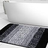 Olanly Luxury Bathroom Rug Mat, Extra Soft and Absorbent Microfiber Bath Rugs, Non-Slip Plush Shaggy Bath Carpet, Machine Wash Dry, Bath Mats for Bathroom Floor, Tub and Shower, 20x32, Black