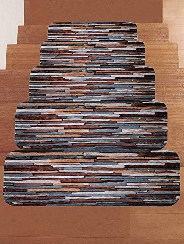 Ommda Stufenmatten Hochflor Innen Rechteckig Set Selbstklebend 15 Stück Steinmuster Treppenstufen Matten Anti Rutsch Waschbar Treppenschutz Style-0457,22x70cm