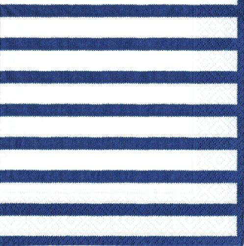 Caspari Paquet de 20 Serviettes Luncheon, Tissu, Bleu, 16,5x16,5x0,02 cm