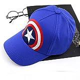 Liufang Capitan America Chico Sombrero para el Sol, Dibujos Animados Hip Hop Gorra de Beisbol, Algodón Ajustable Sombreros para niños, para Pescar Suelo a Prueba de Polvo Impermeable,Azul