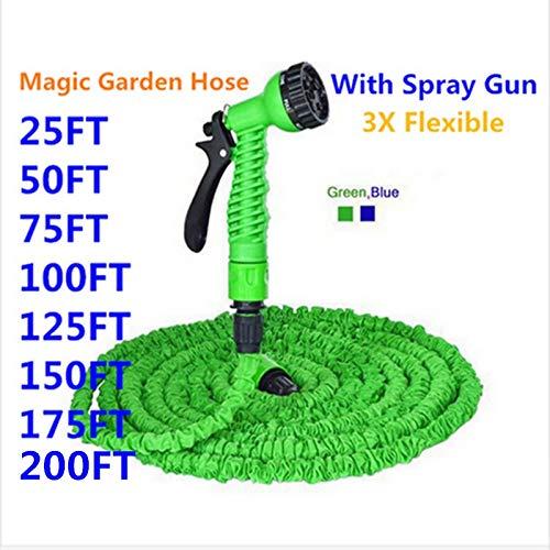 NO LOGO FDCW Ampliable Magic Garden Flexible Manguera for riego con la Pistola de pulverización de Coche del jardín del Tubo de Agua Mangas de riego 25-200FT (Color : Verde, Talla : 50ft)