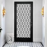 3D Modern Art Decorative Door Sticker, Tribal Geometric Rhombuses and Triangles Native American Co, DIY Art Home Decor Poster Decoration, W15 x L78.7 Inch