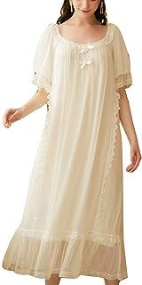Women Ladies Short Sleeve Lace Neck Vintage Victorian Nightdress Sheer Nightgown Pajamas Sleep Shirt Princess Style Gauze ...