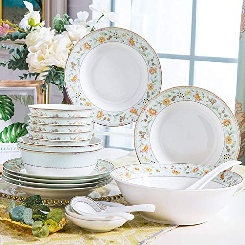 KAIBINY YY Ceramics Dinner Sets, Bowl/Dish/Plate|28 pieces Dinnerware Insulation Flower pattern Tableware Set - Family Party and Kitchen Restaurant