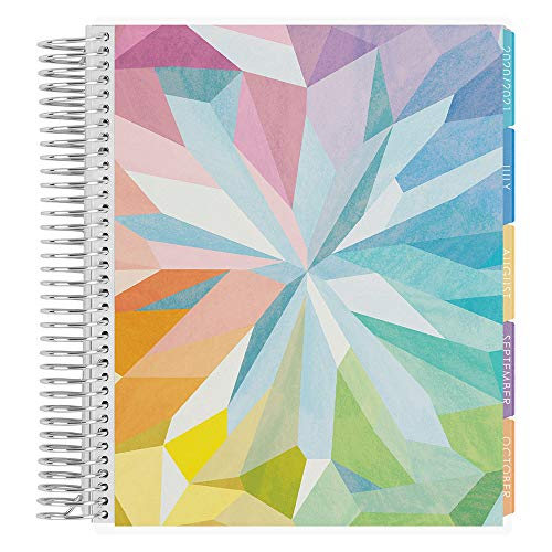 Erin Condren 18 - Month 2020-2021 Coiled Life Planner (July 2020 - December 2021) - Kaleidoscope Colorful Cover, Hourly Layout, Layers Colorful Interior Design, Daily Agenda