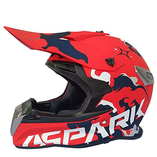 MRDEAR Casco Motocross MX Hombre Adulto Casco Cross Rojo, Orejeras Desmontable, Casco MTB Integral para Off-Road Enduro Motocicleta Quad Downhill...