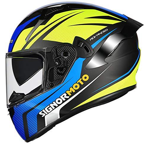 Casco de Moto Integral, Personalidad Scooter Helmet para Mujer Hombre Adultos con Doble Visera, Forro Extraíble y Lavable - Negro Mate Sólido Color,XXL-Black/Blue/Yellow