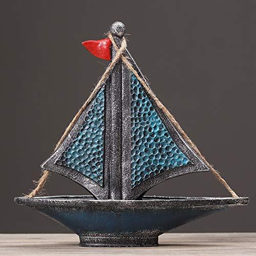 YIYINGSI Escultura Estatua,Mediterráneo Vintage Resina Velero Escultura Modelo Decoración Tienda De Ropa Exhibición Accesorios Hogar Restaurante Bar Azul Craft Ornaments