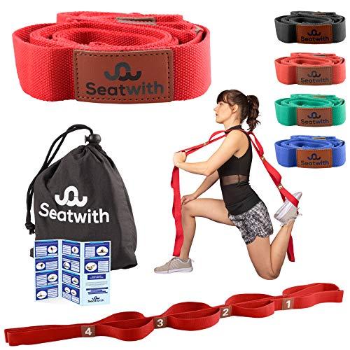 Gymnastik-Gurt mit 10 Schlaufen   Yoga-Gurt 200 x 4 cm   Stretch-Strap für mehr Beweglichkeit   Gratis Transportbeutel & Traininsanleitung PDF  Fitness Pilates Physiotherapie Stretch-Gurt (ROT)