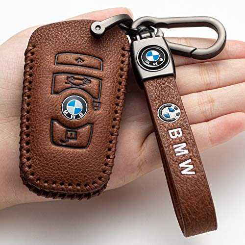 Nonesuper (Brown) for BMW Key Fob Cover, Genuine Leather Key Fob Case Full Protection Case is Compatible with BMW 1 3 4 5 6 7 Series,BMW X3 X4 M5 M6 BMW GT3 GT5 Smart Key