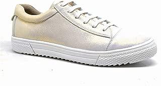 Hakiki Deri Altın Rengi Bağcıklı Fermuarlı Sneaker