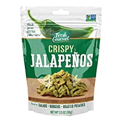 Our Fresh Gourmet crispy jalapenos comes in 3.5 Ounce, lightly salted flavor. Also available in 3.5 Ounce (pack of 6) Great use on variety dishes. Our crispy jalapenos add a burst of flavor & crunchy topping to salads, wraps, casseroles, burgers and ...