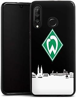 DeinDesign Silikon Hülle kompatibel mit Huawei P30 Lite Case schwarz Handyhülle Offizielles Lizenzprodukt Skyline SV Werder Bremen