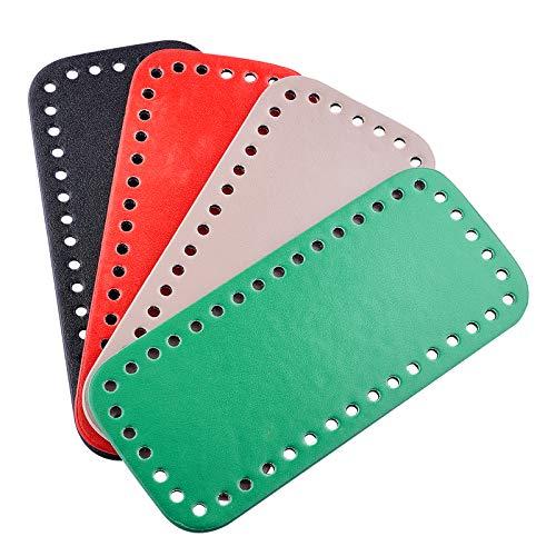 PandaHall 4 piezas de cuero sintético rectangular largo para tejer ganchillo bolsas de uñas, base de cojín con agujeros para bolso de mano, accesorios para bolsos de mano, rojo, verde, negro y gris