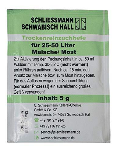 Schliessmann Trockenreinzuchthefe ❁ 5 Gramm Hefe für 25-50 Liter ❁ Wein & Maische - Weinhefe