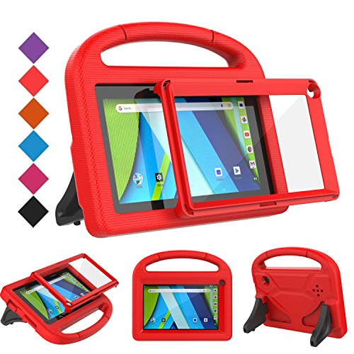 BMOUO Kids Case for RCA Voyager 7 Tablet, RCA Voyager 7 inch Tablet Case with Screen Protector, Shockproof Light Weight Stand Kids Case for RCA Voyager I II III 7 inch Tablet, Red