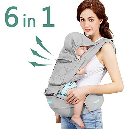 Windsleeping Porta bebé Ergonómico,Mochila Portabebes con capucha para todas las estaciones,Algodón Puro Ligero y Transpirableapto para bebés, niños pequeños y recién nacidos - Gris