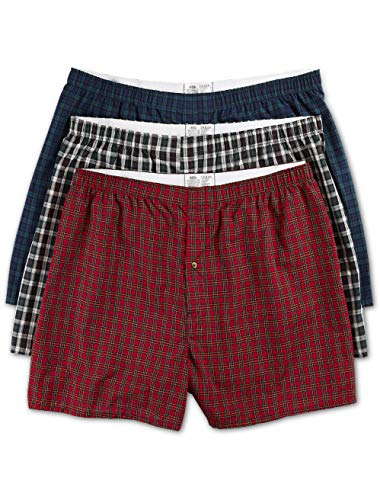 Harbor Bay by DXL Big and Tall 3-Pack Tartan Plaid Woven Boxers, Multi, 2XL