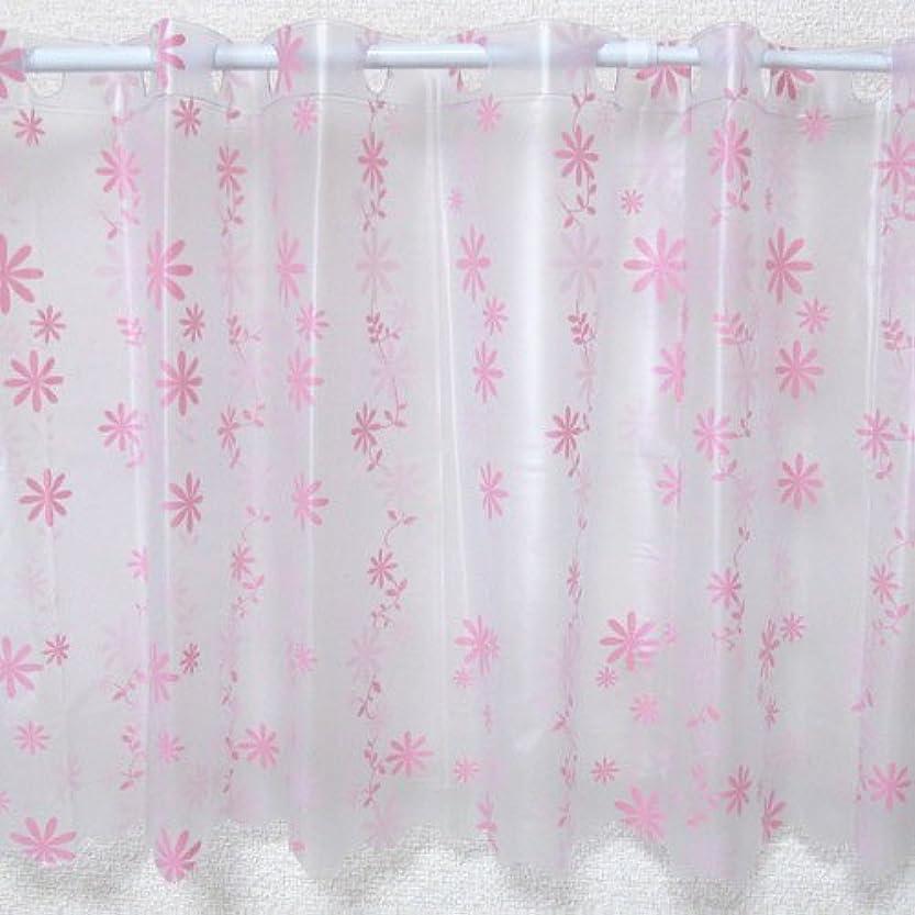 護衛発症作曲家抗菌 防水カフェカーテン Lサイズ 幅120×丈80cm フラワー ピンク 日本製