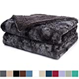 The Connecticut Home Company Luxury Faux Fur Bed Throw Blanket, Queen, Full Size, 90x90, Soft, Large Wrinkle Resistant Reversible Blankets, Warm Hypoallergenic Washable Throws for Beds, Gray Tie Dye