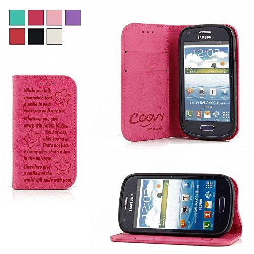 COOVY® Funda para Samsung Galaxy S3 Mini GT-i8200 GT-i8190 GT-i8195 Billetera, Ranuras para Tarjetas, Cierre magnético, Soporte, Protectora de Pantalla | Smile | Color Rosa Fuerte
