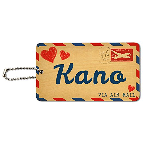 Air Mail Postcard Love for Kano Wood ID Tag Luggage Card Suitcase Carry-On