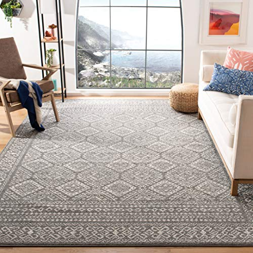 Safavieh Tulum Collection TUL264F Moroccan Boho Distressed Non-Shedding Stain Resistant Living Room Bedroom Area Rug, 5'3' x 7'6', Dark Grey / Ivory