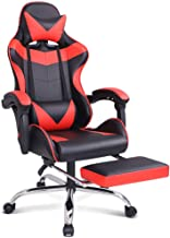 Gaming Racing Chair Executive Sport Office Chair with Footrest PU Leather Armrest Headrest Home Chair in Red Colour