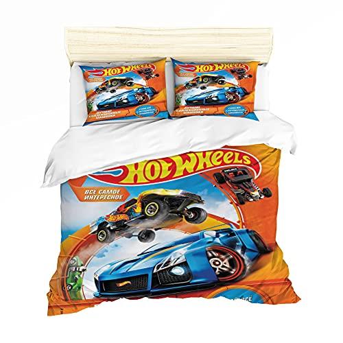 NICHIYO Hot Wheels Juego de ropa de cama – Funda nórdica y funda de almohada, microfibra, impresión digital 3D, ropa de cama de tres piezas (8,135 x 200 cm + 80 x 80 cm)