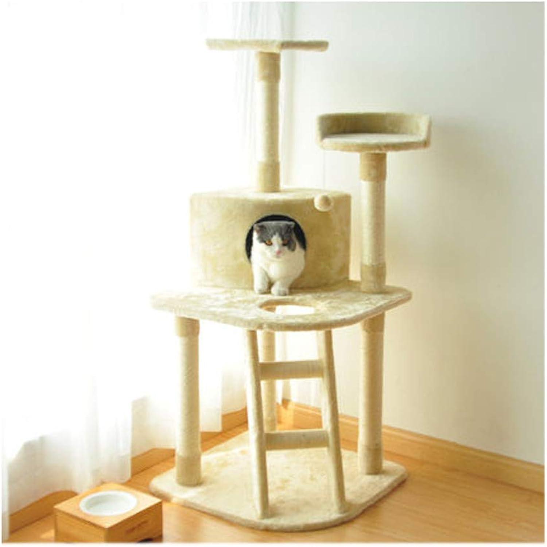 QXX Cat climbing frame cat toy sisal cat scratch board cat climbing tree size code jumping platform hammock cat litter (color   Beige)