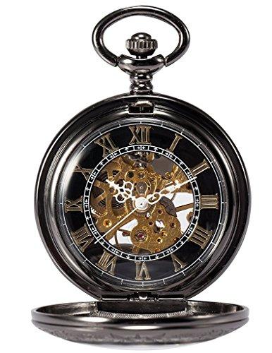 Treeweto Steampunk - orologio da taschino con ciondolo retrò in rame, scheletrato