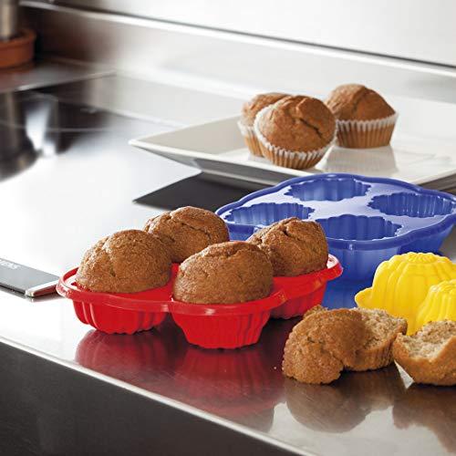 Molde de 4 para hacer muffins, molde de silicona para hornear magdalenas, molde de cocina para cupcakes, molde de repostería reutilizable y lavable