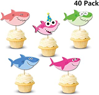 Finduat 40 Pack Baby Shark Cupcake Toppers for Kids Birthday Party Supplies Decorations