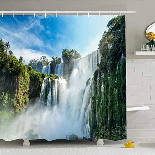 Conjunto de cortina de ducha con ganchos Agua Espectaculares nubes Cataratas del Iguazú Cataratas Viajes 7 Wonder World Argentina Monumentos Vacaciones Vacaciones Tela de poliéster impermeable Baño De