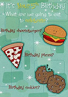 Designer Greetings Cheesburger, Pizza and Cookies Age 5 / 5th Birthday Card