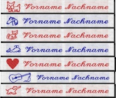 Namensetiketten Etiketten M10 mit Ihrem Namen und Motiv nach Wunsch bestickt zum Einbügeln oder Einnähen Mädchen 50 Stück