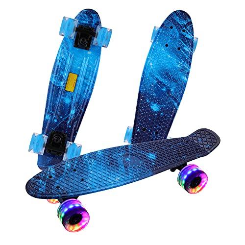 Zwepry Skateboard per bambini, in stile retrò, 22 pollici, 56 cm, con ruote luminose a LED in PU, per adulti, bambini, ragazzi, ragazze, blu
