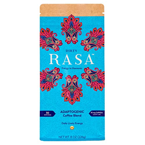 Dirty Rasa Coffee with Adaptogens 8 Ounce - Low Caffeine Coffee Substitute - Chaga & Reishi Mushroom - Concentration & Energy - Organic, Fair Trade, Vegan, Gluten Free