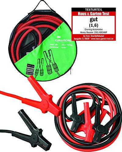 GRUNDIG Automotive Starthilfekabel 4,5m - 35mm²- 480 Ampere 12V / 24V - Vollisolierte Polklemmen - nach DIN 72553 - verwicklungsfreies Überbrückungskabel inkl. Aufbewahrungstasche (35mm²/ 4,5m Länge)