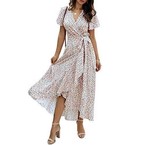 Evilib Vestido largo largo de las señoras de la moda del cuello en V de la manga larga del patrón floral del abrigo de las mujeres