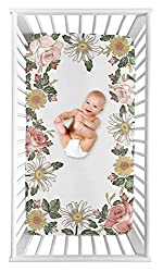 vintage floral fitted crib sheet