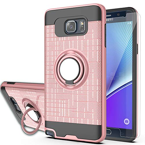 Note 5 case Galaxy Note 5 Case with HD Screen Protector,Ymhxcy 360 Degree Rotating Ring & Bracket Rubber Dual Layer Shock Bumper Resistant Back Cover for Samsung Galaxy Note 5-ZH Rose Gold