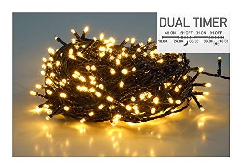 Guirlande lumineuse à 40 LED - Blanc chaud - Pour l'intérieur et l'extérieur - Avec double minuterie pour le matin et le soir (3 m - 40 LED)
