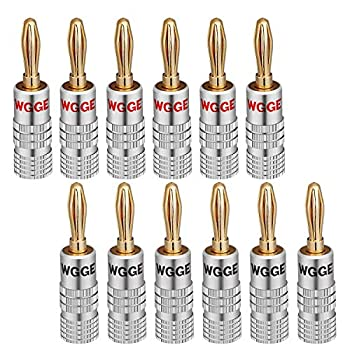 WGGE WG-009 Banana Plugs Audio Jack Connector 6 Pairs / 12 pcs 24k Gold Dual Screw Lock Speaker Connector for Speaker Wire Wall Plate Home Theater Audio/Video Receiver and Sound Systems